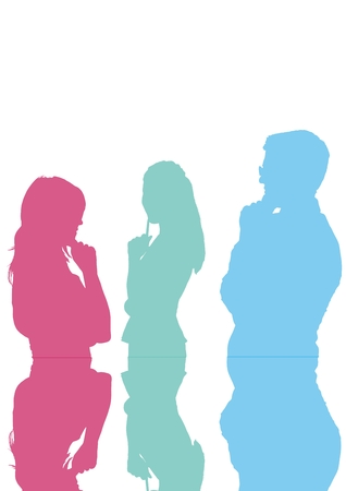 Digital composite of businessman and woman color silhouette