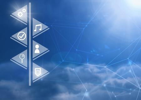 ブルースカイ背景上の物事のインターネットのアイコンのインターフェイスのデジタルコンポジット