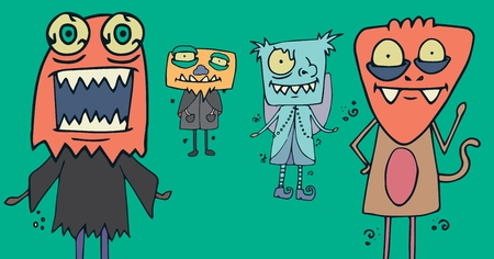 female likeness: Digital composite of Monster illustrations in Halloween costumes