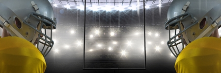 Digital composite of american football players mirrored in stadium