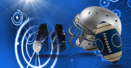 Digital composite of American football helmet and gear equipment with technology transition