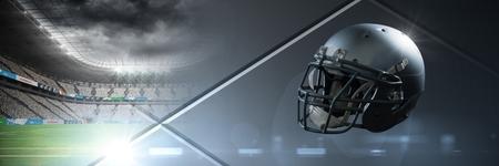 スタジアムの変遷を持つアメリカンフットボールヘルメットのデジタルコンポジット