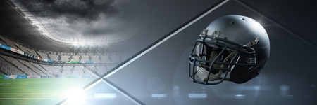 Digital composite of American football helmet with stadium transition Stock Photo