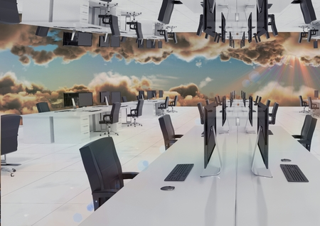Digital composite of inverted office in the clouds