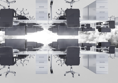 Digital composite of Inverted office in clouds with flare Stock Photo