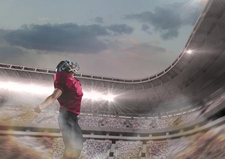 Digital composite of american football  player standing in stadium