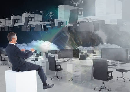 swivel: Digital composite of businessman sitting in  office in space