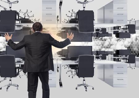 フレアと雲の倒立事務所に立っている実業家のデジタル合成