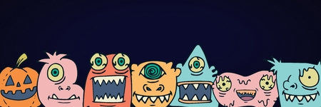 Digital composite of Monster halloween heads illustrations in a row