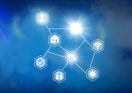 Digital composite of Icons interface of Internet Of Things over blue background