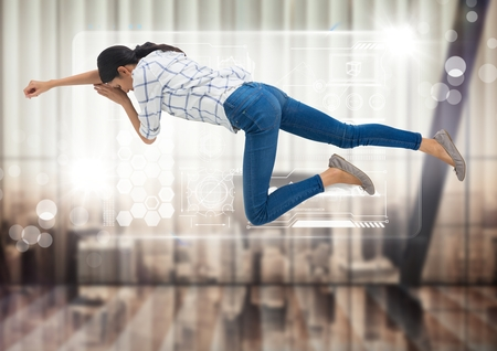 Digital composite of Woman asleep floating with interface