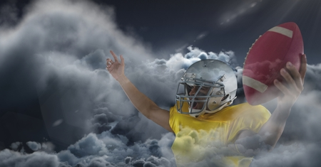 overcast: Digital composite of american football player in clouds