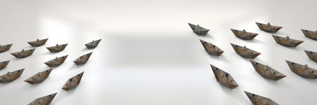 Digital composite of Group of euro money Paper boats in white blur