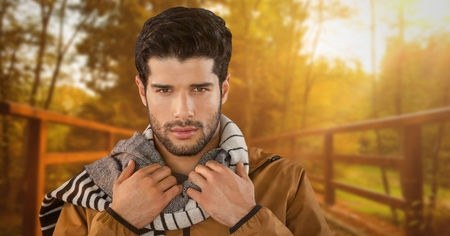reliable: Digital composite of Man in Autumn with scarf in forest park