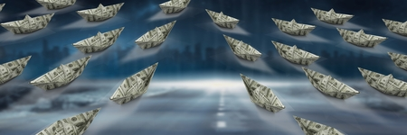 Digital composite of Group of Paper money dollar boats on road