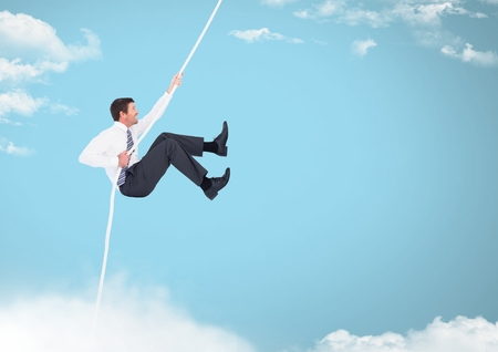 night out: Digital composite of Man swinging on rope