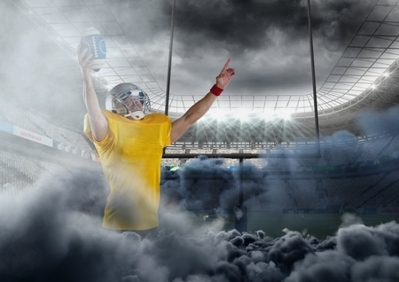 Digital composite of american football player in stadium with smoke