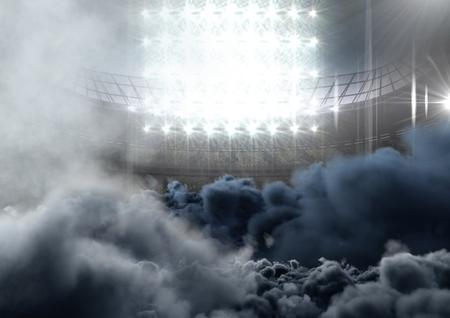 Digital composite of american football  stadium with smoke