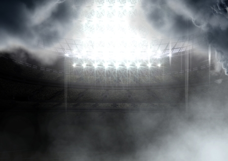 Digital composite of american football stadium in clouds Stock Photo