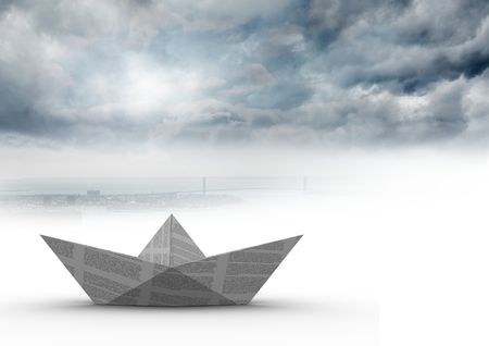 Digital composite of Paper boat in  clouds Stock Photo