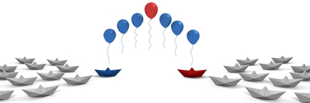 Digital composite of Paper boats with balloons