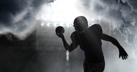 Digital composite of american football player shadow