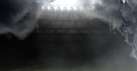 Digital composite of american football stadium with clouds Stock Photo