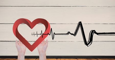 Digital Composite von Herz schlagen über die Hände mit Herz Standard-Bild - 88037056
