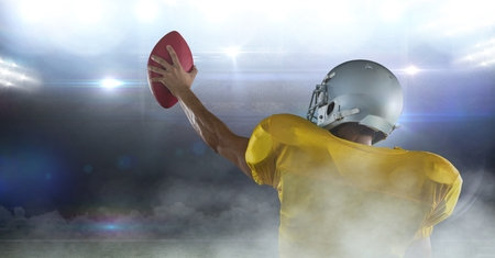 Digital composite of american football player cheering