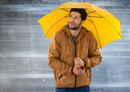 Digital composite of Man with umbrella and tech interface in motion