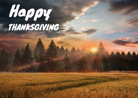 Digital composite of Happy thanksgiving text with forest in Autumn Stock Photo