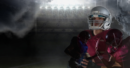 Digital composite of american football players overlay with flare