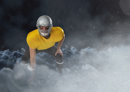 Digital composite of american football  player running in the clouds with ball