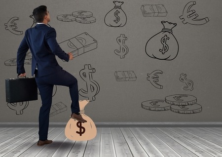 Digital composite of businessman in front of money on wall