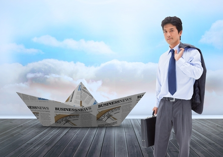 Digital composite of Paper boat with businessman in sky