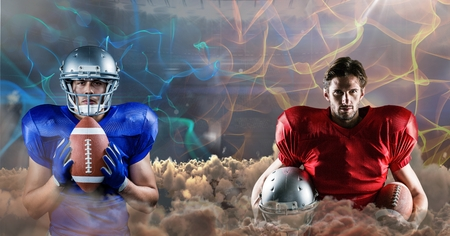Digital composite of american football players blue and red