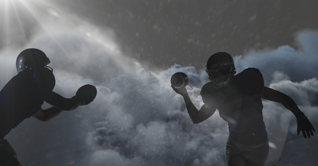 Digital composite of american football players shadow in clouds