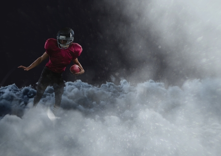 Digital composite of american football player in the clouds