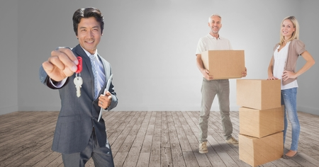 career fair: Digital composite of people moving boxes into new home with key