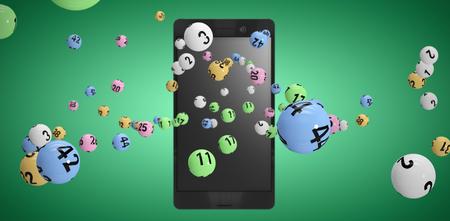3D image of colorful bingo balls against green vignette