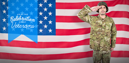 militant: Portrait of confident soldier giving salute against rippled us flag