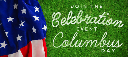 Title for columbus day event  against closed up view of grass