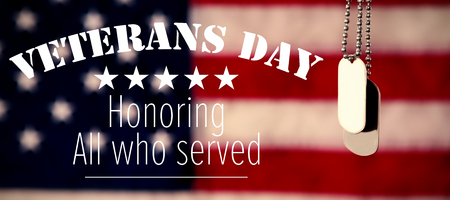 día de los veteranos en América contra las cadenas de la etiqueta del perro contra la bandera americana Foto de archivo