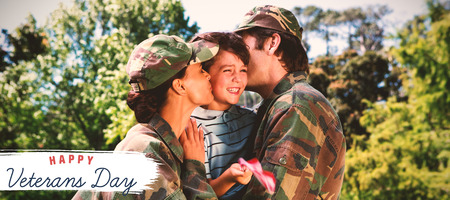 Logo for veterans day in america  against army parents reunited with their son