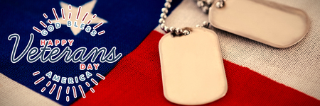 veterans day in america  against dog tag pendant on american flag