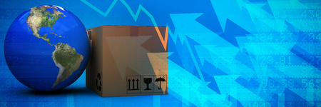 3D image of planet Earth by cardboard box against stocks and shares Stock Photo