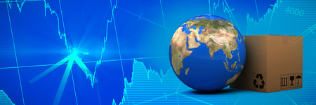 3D planet Earth and cardboard box against white background against stocks and shares Stock Photo