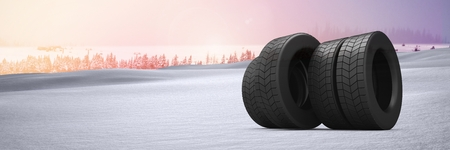 Digital composite of Tyres in Winter snow landscape