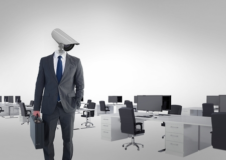 Digital composite of Businessman with CCTV head at office Reklamní fotografie