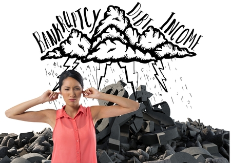 Digital composite of frustrated woman in front of cloud